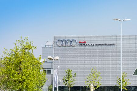 Munich, Germany - May 6, 2016: New modern building of Audi Training Center with German inscription Advantage through technology