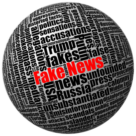 misleading: Fake news and other trumped publications in press and mass media. Tag word cloud 3D sphere isolated on white Stock Photo