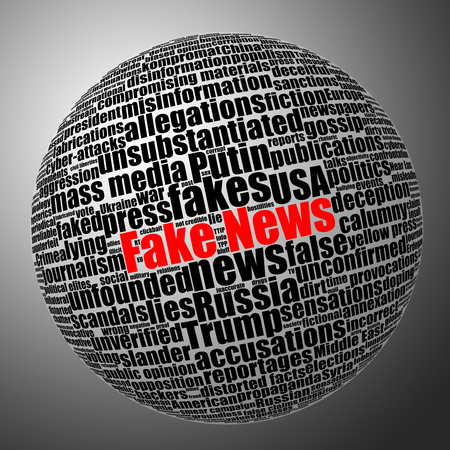 Fake news sphere tag cloud. Black and white stock illustration with selective red color effect. Stock Photo