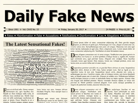 Front page of daily fake news mainstream newspaper title headline. Flat design illustration with tag word cloud and lorem ipsum text.