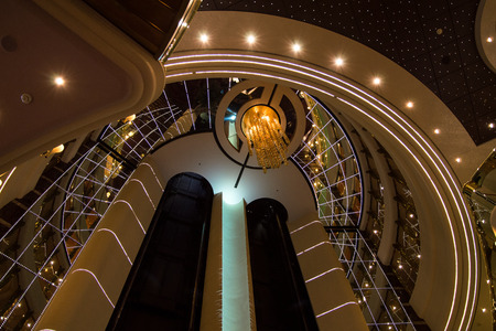 MSC Splendida - February 26, 2017: Respectable and shining interior design with elevators in luxurious cruise ship MSC Splendida.