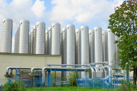 District heating storage tanks is part of industrial sewage treatment system for drinking water production and hot water supply