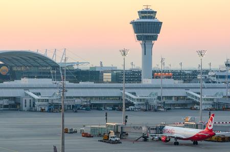Munich, Germany - May 6, 2016: Sunrise over Munich international airport Franz Josef Strauss Editöryel