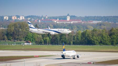 Munich, Germany - May 6, 2016: Airplane of Israeli airline El Al landing in Munich international airport. Editorial