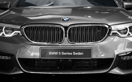 Munich, Germany - July 15, 2017: New modern superb BMW sedan 5 series elegant business car front view