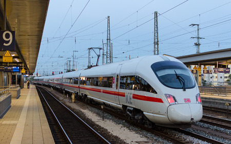 Munich, Germany - August 27, 2014: High-speed electric train ICE T of German rail lines company Deutsche Bahn AG standing at the station Ostbahnhof in Munich