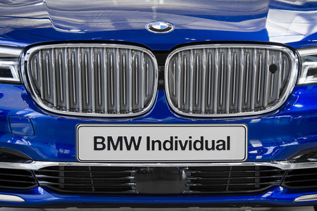 Munich, Germany - July 15, 2017: Close-up front view of new model BMW Individual stylish car