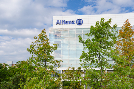 Munich, Germany - August 22, 2014: Allianz SE insurance company and financial investment group. Contemporary office and headquarters building in Munich. Editorial