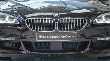 elite: Munich, Germany - July 15, 2017: Front view of new luxury BMW Grand Coupe 6 series elegant and prestigious business car