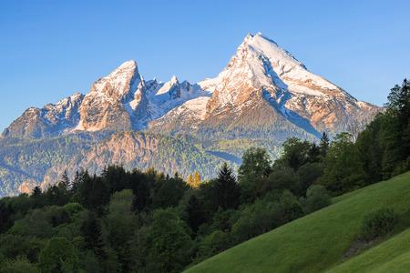 Snow-crowned peaks of Watzmann mount in famous Bavarian national park Berchtesgaden in German Alps Stok Fotoğraf