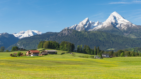 Traditional countryside Alpine spring panoramic landscape in Bavarian municipality Berchtesgaden with Watzmann mount and flowering meadow Standard-Bild - 93445046