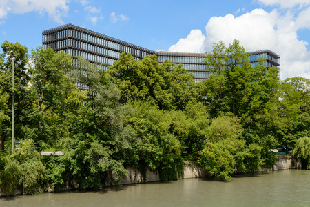 Munich, Germany - June 2, 2018: Modern building of European Patent Office EPO headquarters on Isar river in Munich Editöryel