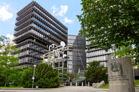 Munich, Germany - June 2, 2018: Exterior of modern building of European Patent Office EPO headquarters