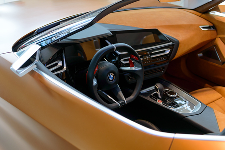 Munich, Germany - April 21, 2018: Interior of concept the third generation new model BMW Z4 convertible sportscar in G29 production version with retractable hardtop roof. Standard-Bild - 117883573