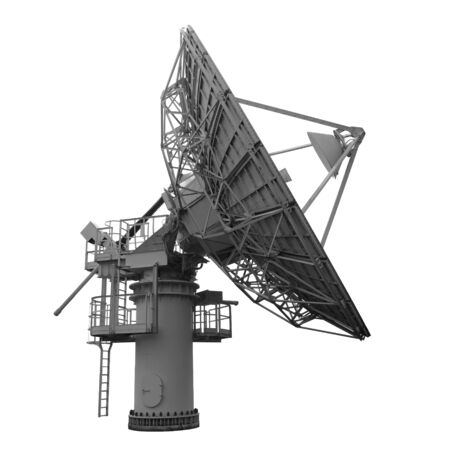 Parabolic dish antenna for satellite communications and telecommunications side view isolated on white