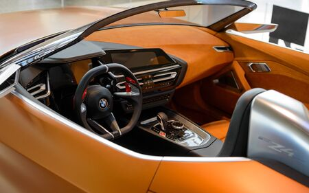Munich, Germany - April 21, 2018: Interior of concept cabriolet sportscar BMW Z4. The new third generation model with retractable hardtop roof. Editorial