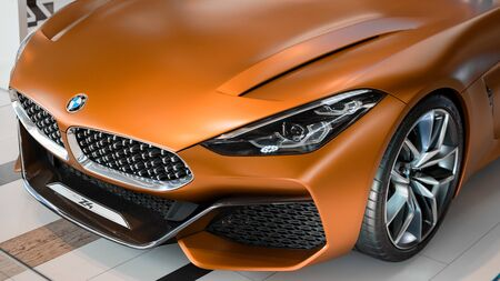 Munich, Germany - April 21, 2018: Prototype of new BMW Z4 car next third generation model of  sportscar with retractable hardtop roof.