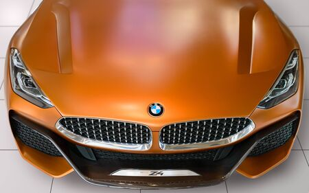 Munich, Germany - April 21, 2018: Front view of BMW Z4 convertible sportscar new concept the third generation model in G29 production version with retractable hardtop roof. Editorial