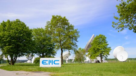 Raisting, Germany - May 21, 2016: EMC GmbH telecommunications company in Raisting satellite ground station - the largest space communications earth terminal in Germany. Editorial