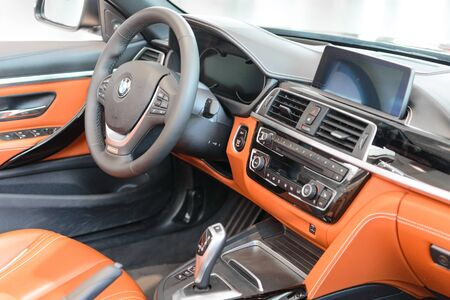 Munich, Germany - April 21, 2018: Interior of new flagship model BMW 7 Series full-size luxury sedan in executive G11/G12 sixth generation production version. Editorial