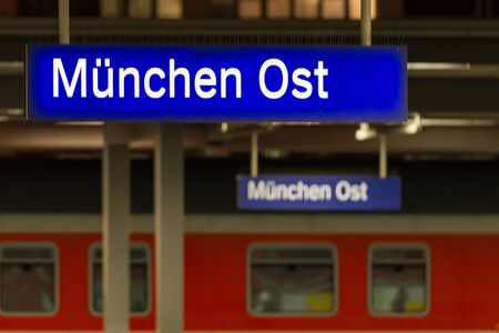 Munich, Germany - December 27, 2017: München Ost or Ostbahnhof luminous sign on Munich eastern railway station Editorial