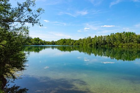 Forest lake in German national park with clear blue sky and trees reflection on water mirror surface Standard-Bild