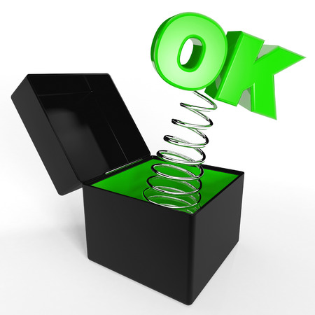out of the box: OK out from a box Stock Photo