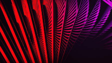 Red digital background with 3d spiral structures. Rotate 3d spiral. Stock Photo