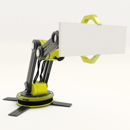 Robotic arm testing its functions. Stock Photo