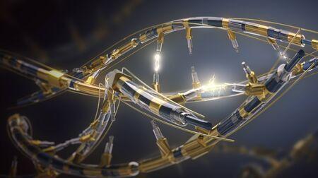 DNA helix. Hi Tech in the field of genetic engineering.