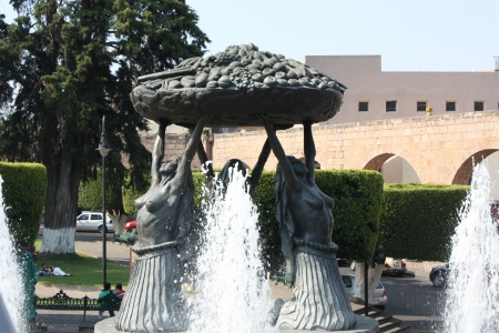 morelos: Fuente Las Tarascas, Las Tarascas Fountain, Morelia, Michoacan, Mexico Stock Photo