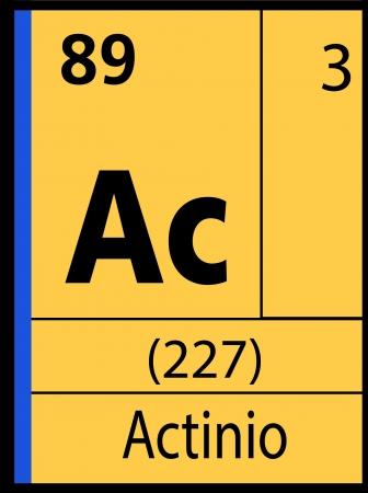 Actinio, periodic table Ilustração