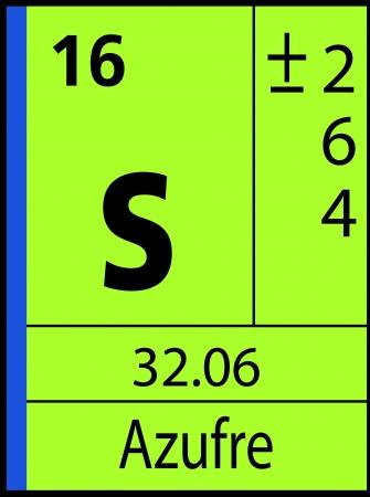 Azufre, periodic table Ilustração