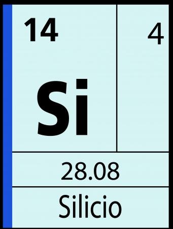 graphic flerovium: Silicio, periodic table Illustration