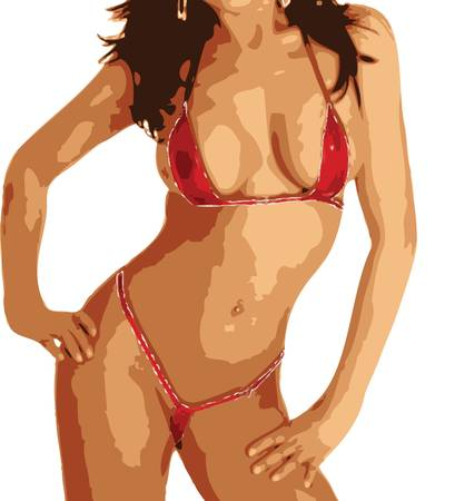 Illustration of a sexy woman in a red bikini Vector