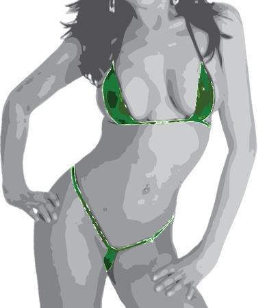 porno: Sexy M�dchen im gr�nen Bikini Illustration