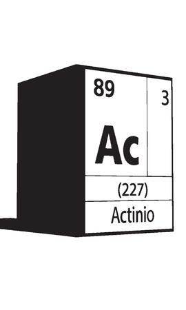 lanthanides: Actinio, line art element of periodic table