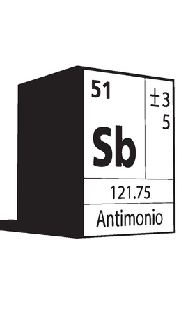 Antimonio, line art element of periodic table Vector
