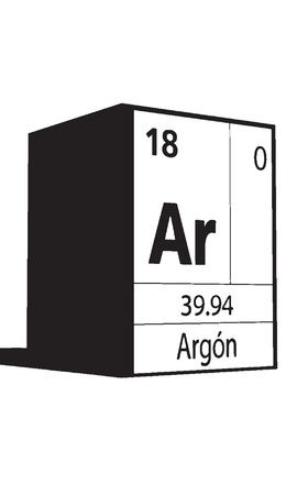 atomic symbol: Argon, line art element of periodic table