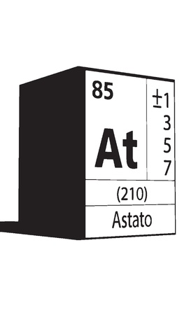 lanthanides: Astato, line art element of periodic table