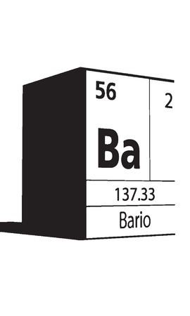 lanthanides: Bario, line art element of periodic table