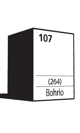 lanthanides: Bohorio, line art element of periodic table