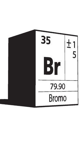 actinides: Bromo, line art element of periodic table
