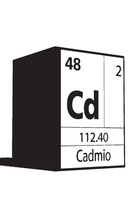 Cadmio, line art element of periodic table Vector