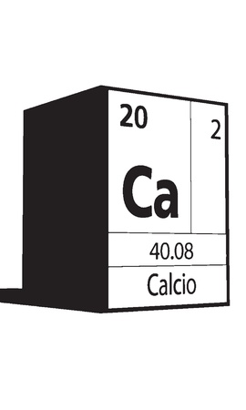 Calcio, line art element of periodic table Vector