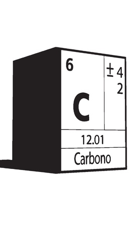 lanthanides: Carbono, line art element of periodic table