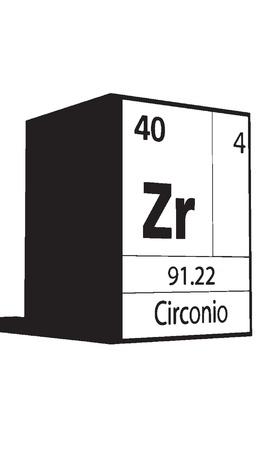 lanthanides: Circonio, line art element of periodic table
