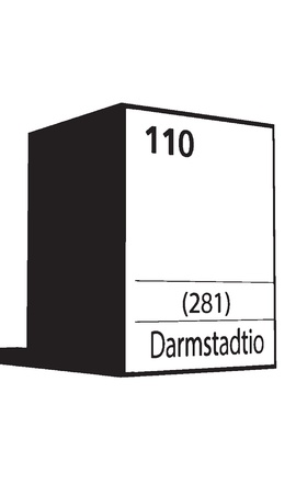 lanthanides: Darmstadio, line art element of periodic table Illustration