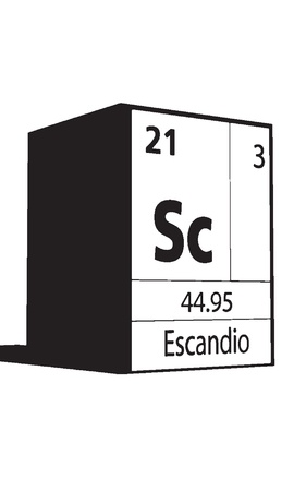 Escandio, line art element of periodic table Vector