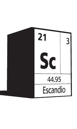 atomic symbol: Escandio, line art element of periodic table Illustration